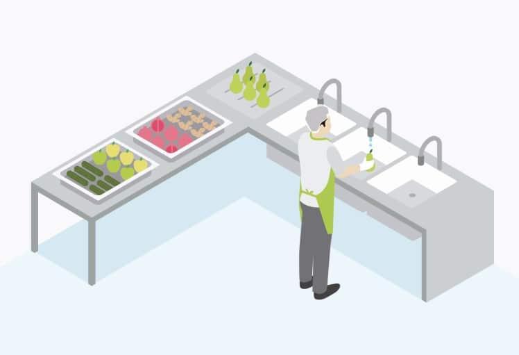 Espacio lavado de frutas